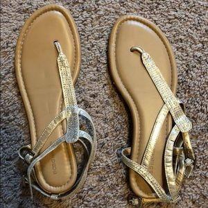 BCBG gold sandals